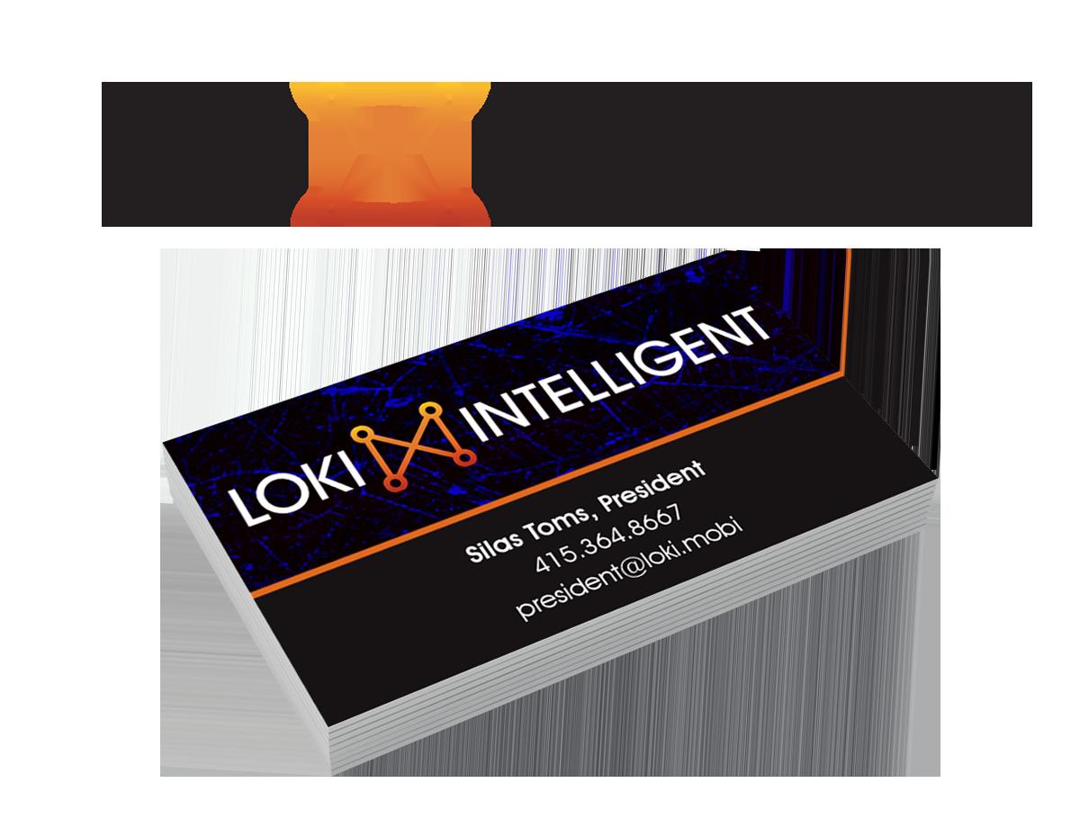 Loki Intelligent logo and business card design