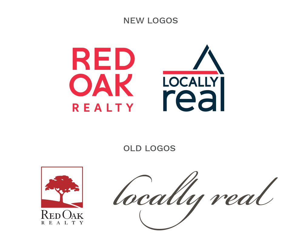 Locally Real and Red Oak Realty logos, before and after