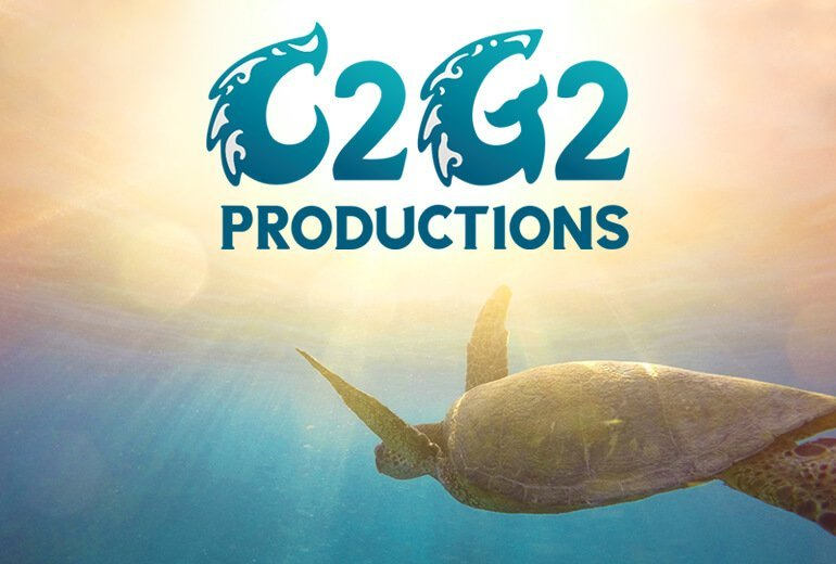 C2G2 Productions logo over a sea turtle background