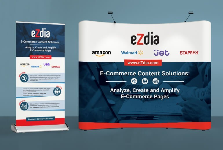 eZdia conference banners tradeshow exhibit over a blue background