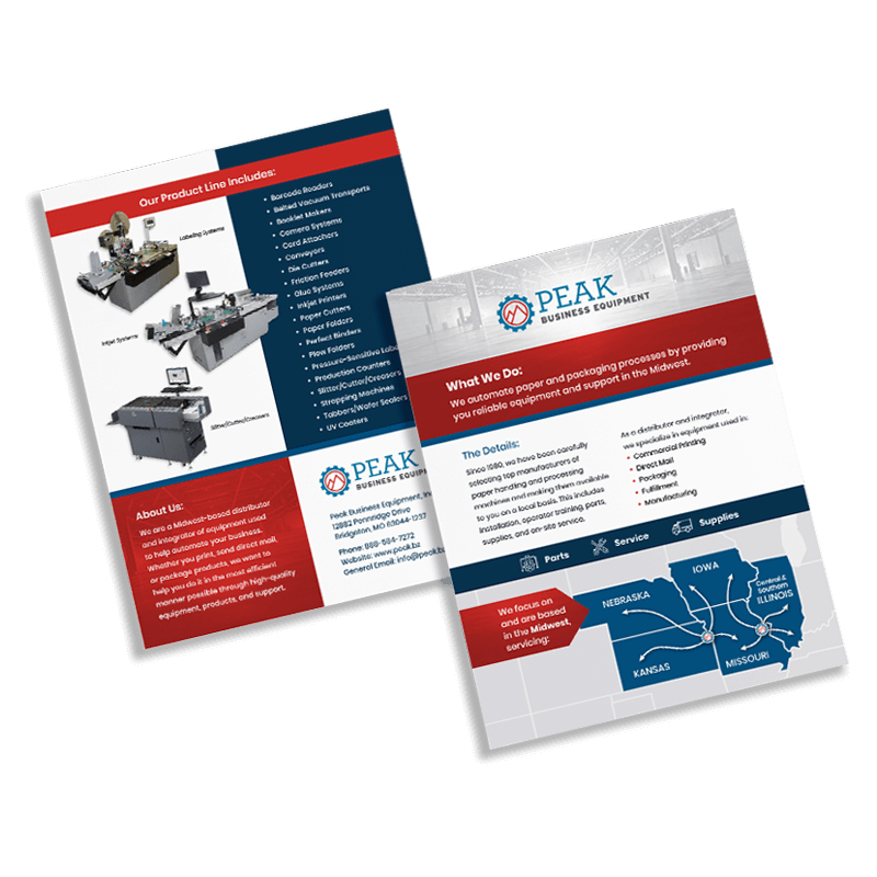 Peak Business Equipment marketing flyer