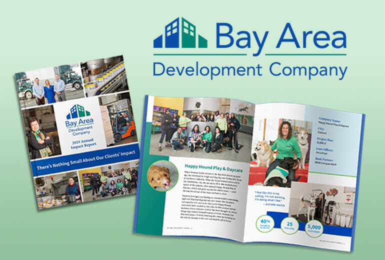 Bay Area Development Company project cover with logo and annual report spreads