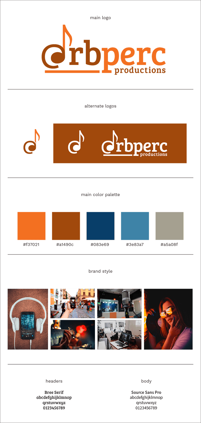 @rbperc Productions Brand Style Board with colors, fonts, and image ideas