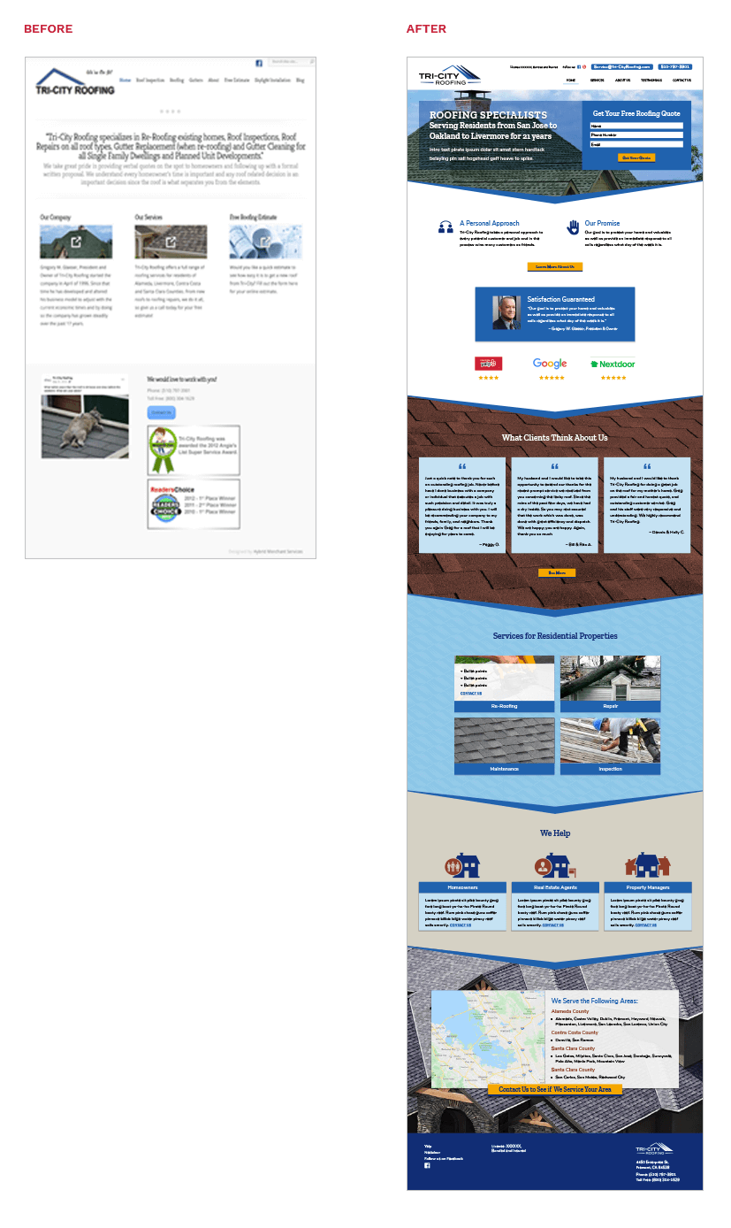 Tri-City Roofing Website Homepage Before and After