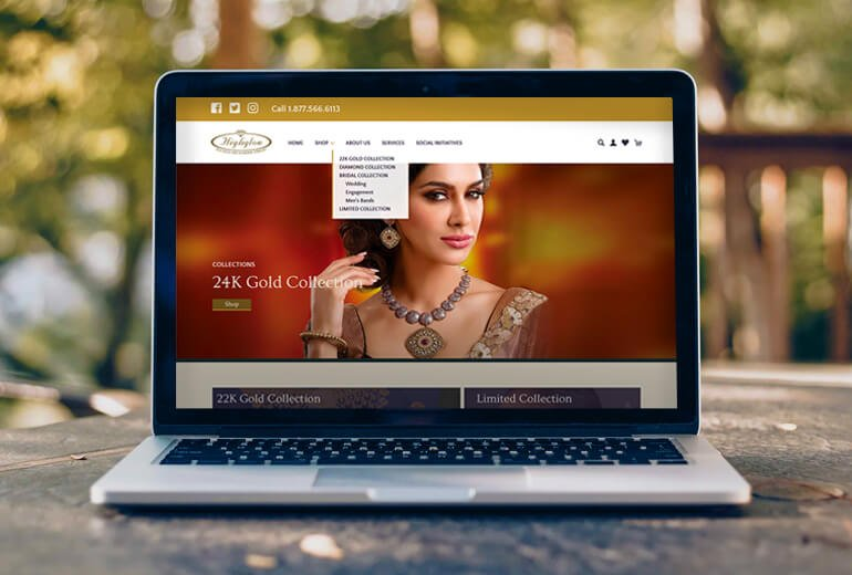 Highglow website on a laptop computer